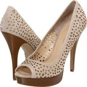 Sully Peep Toe Suede Cut Out Wooden Heel Pumps
